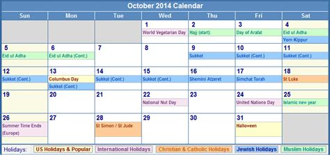 october 2014 calendar with us christian jewish muslim