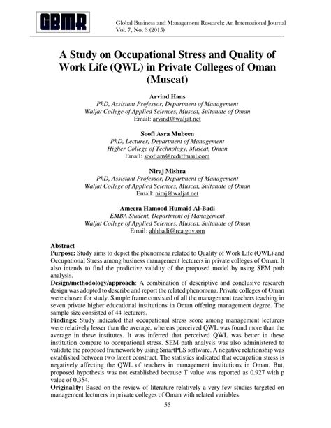 List Of Mba Colleges In Muscat by A Study On Occupational Stress And Pdf Available