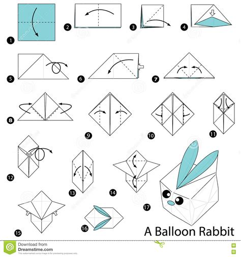 How To Make A Paper Rabbit - step by step how to make origami a balloon