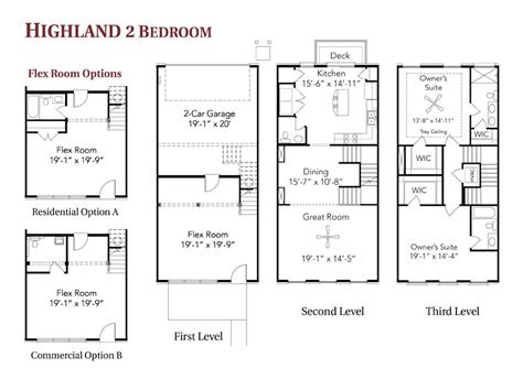 highland 2 bedroom live work townhome floor plans