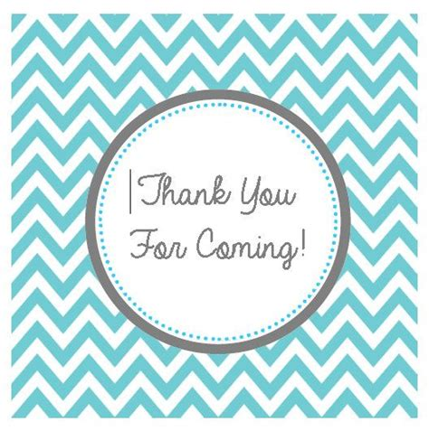turqouise chevron thank you for coming tag by
