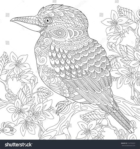 anti stress coloring book australia stylized australian kookaburra bird cherry blossoming
