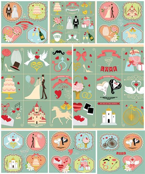 retro icons 20 free sets for vintage themed designs set of wedding invitation retro design elements icons