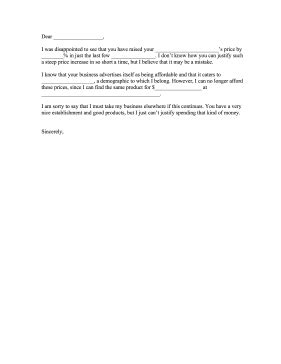 Complaint Letter For Price Increase Price Increase Email Template