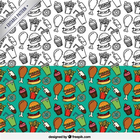pattern food vector hand drawn fast food pattern vector premium download