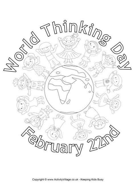 World Thinking Day Coloring Pages world thinking day colouring page