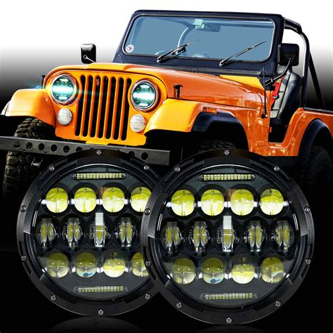 jeep headlights at led headlight headl upgrade for jeep cj cj5 cj7 ebay