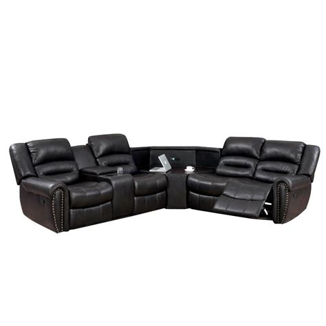 faux leather reclining sectional furniture of america chuck faux leather reclining