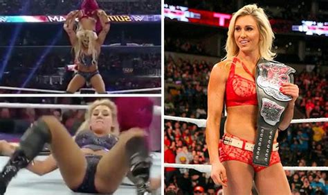 girl fight wardrobe malfunction stunning wwe diva charlotte flashes camel toe during fight