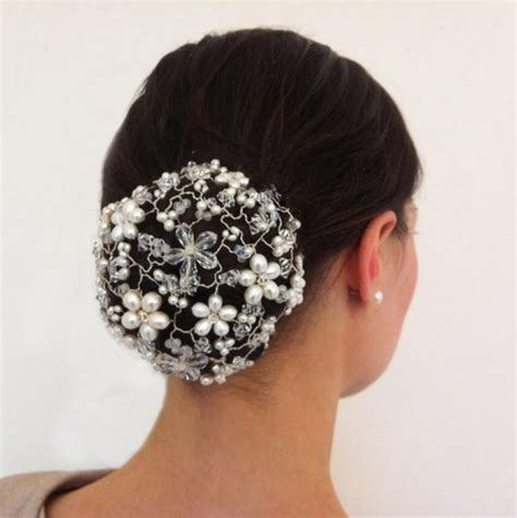 Hair Accessories Bun Cover jewelled bun cover pearl and wedding hair