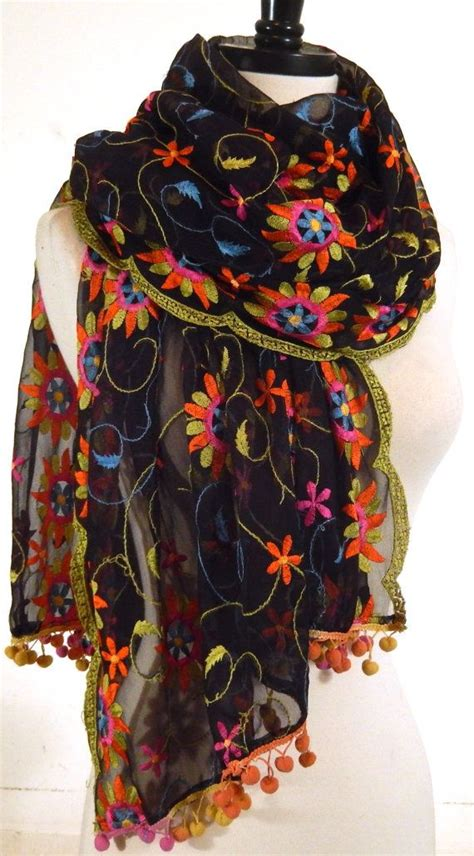Embroidered Scarf embroidered shawl floral wrap black chiffon scarf sheer