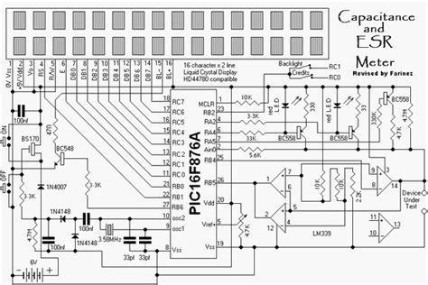 digital capacitor meter circuit diagram esr meter