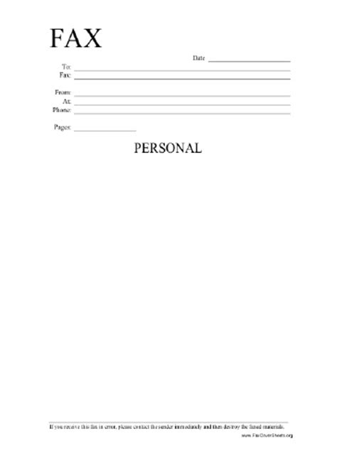 personal fax cover sheet template personal information fax cover sheet at freefaxcoversheets net