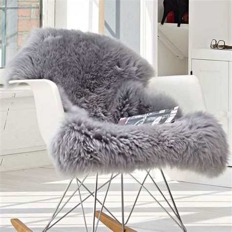 sheepskin throw for rocking chair details about brand new large grey genuine merino