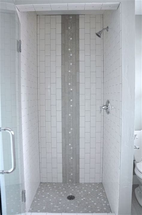 bathroom shower stall tile designs vertical subway tile shower stall with waterfall accent