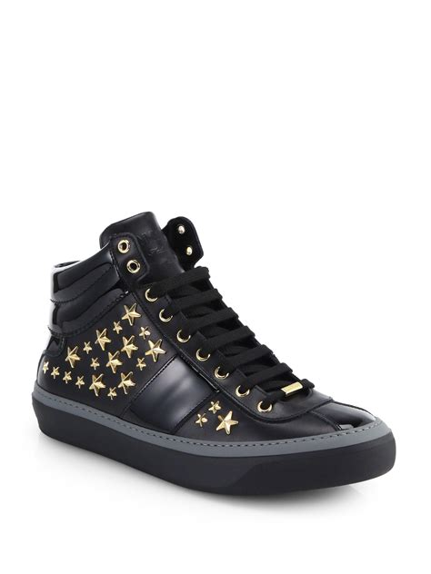 jimmy choo sneakers mens jimmy choo belgravia leather high top sneakers in black