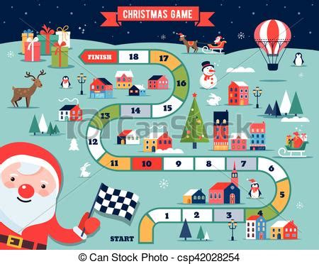 Christmas village map, winter town, board game with ... Free Clip Art Christmas Theme