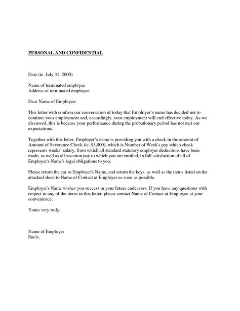 hire probation period letter employee probation termination letter  day