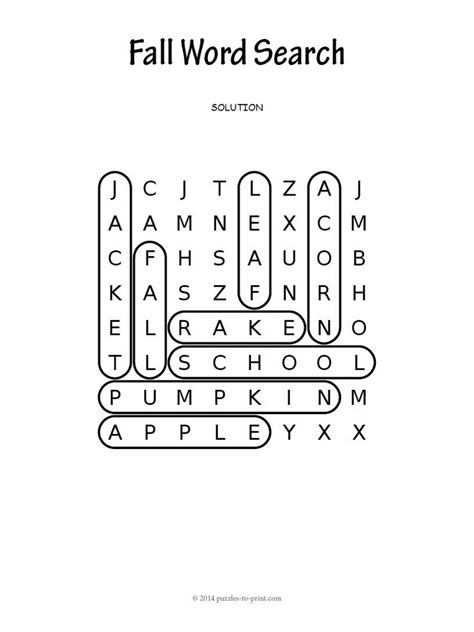 Easy Search Easy Fall Word Search