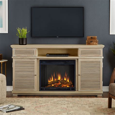 cavallo electric fireplace tv stand in weathered white