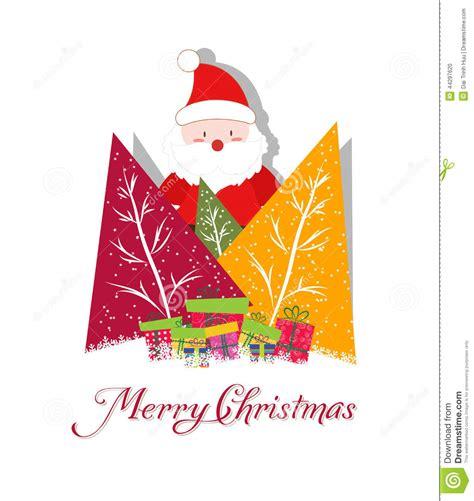 arboles de naviadad con santa clous tarjeta de navidad con santa claus los 225 rboles de navidad y el regalo ilustraci 243 n vector