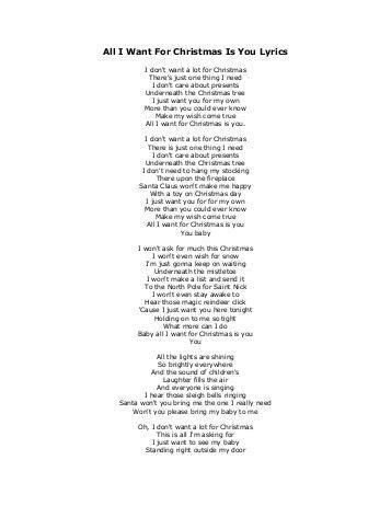 printable lyrics all i want for christmas is you download all i want for christmas lyrics free software