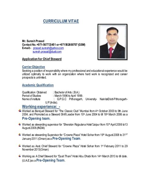 Sle Resume For A Kitchen Steward C V Chief Steward Suresh Updated