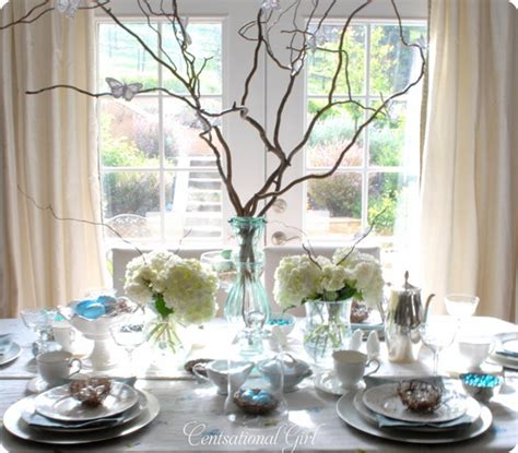 spring tablescape blues and branches a spring tablescape centsational girl