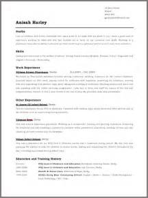 Cv Format Template by Cv Templates Jobfox Uk