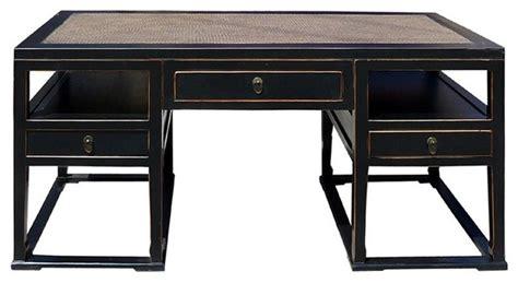 Black Rattan Top Solid Elm Wood Office Desk Computer Table Rattan Computer Desk