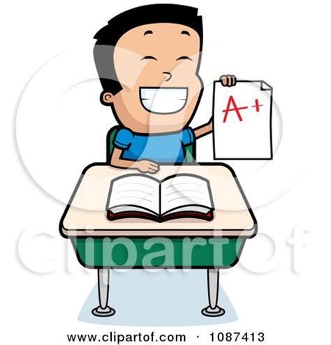 Small Desk Flags Clipart Smart Boy Sitting At A Desk With An A Plus