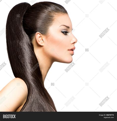 hair straightening for big ponytail hairstyle beauty brunette image photo bigstock