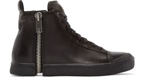 Diesel 7291 Black Leather diesel black leather s nentish high top sneakers in black for lyst