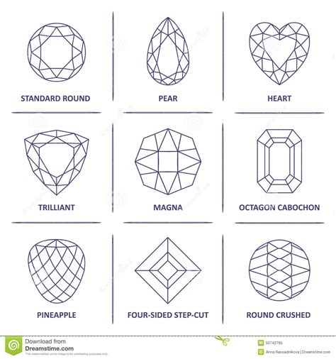 Gem Outline by Low Poly Popular Blueprint Outline Gems Cuts Infographics Stock Vector Image 50742795