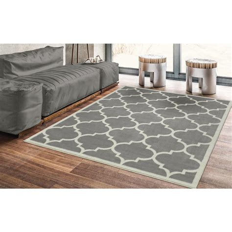 accent rug vs area rug ottomanson contemporary moroccan trellis gray 5 ft 3 in