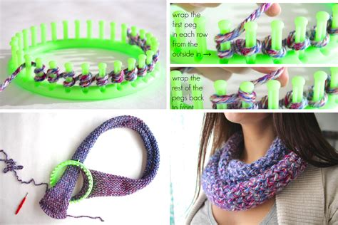 how to use loom knitting how to knit an infinity scarf on a loom diy projects