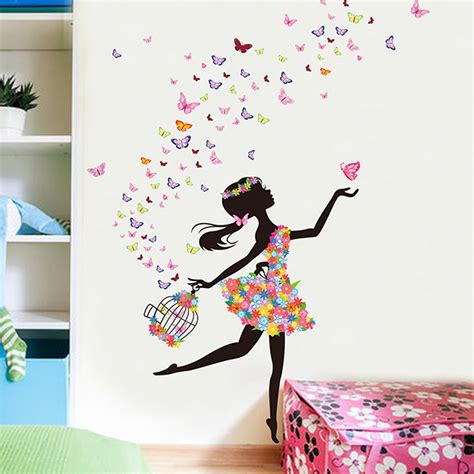 butterfly wall stickers for bedrooms butterfly flower fairy wall stickers for girls kids
