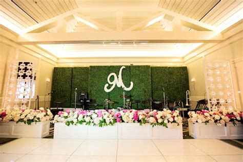 Rent Letters For Wedding Boxwood Wall Stage Backdrop With Lush Floral Bandstand The Floral Initial Www