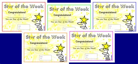 printable star of the day certificates star of the week certificates sb1917 sparklebox