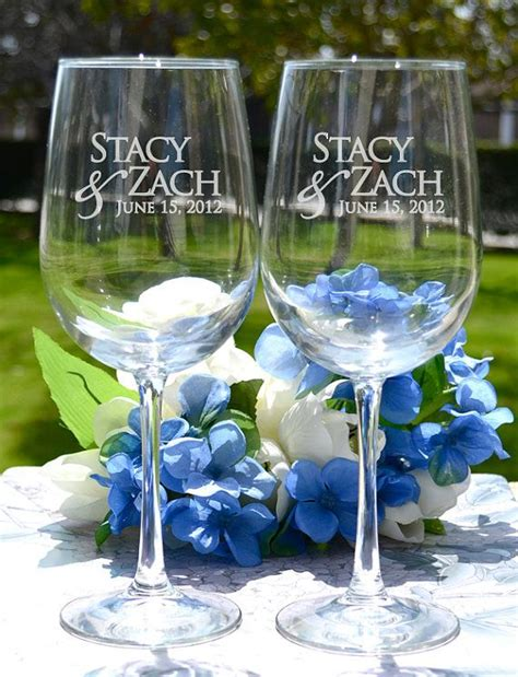 Wedding Gift Wine Glasses by Personalized Engraved Wedding Wine Glasses