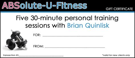 personal trainer gift certificate template printable gift certificates absolute u fitness