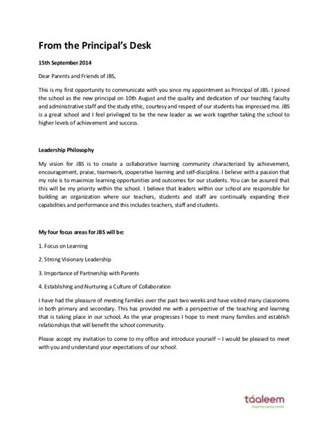 Invitation Letter For To Principal Letter From The Principal September 2014