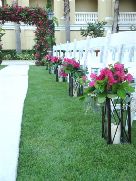 Wedding Aisle Lined With Lanterns by Garden Wedding At Ritz Carlton Sarasota Flowers By