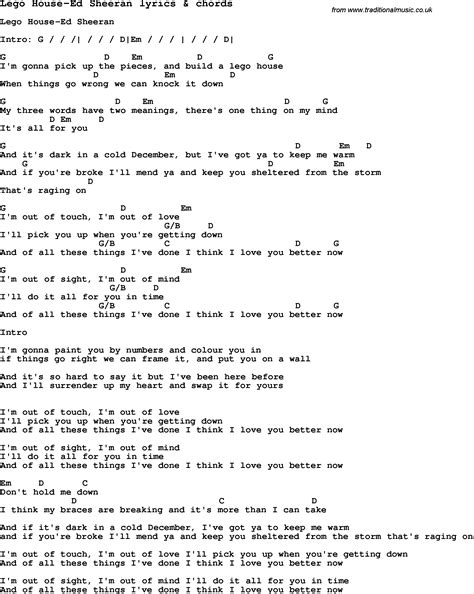 house music lyrics search love song lyrics for lego house ed sheeran with chords