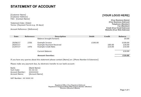 template statement of account statement of account template template customer