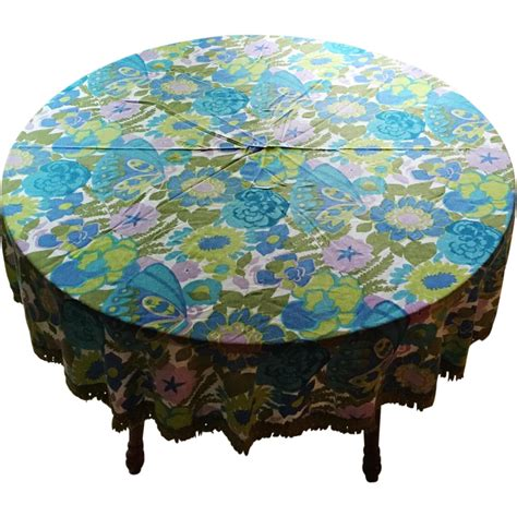 Vintage 1960s Round Tablecloth With Mod Floral Print And Vintage Table Cloth