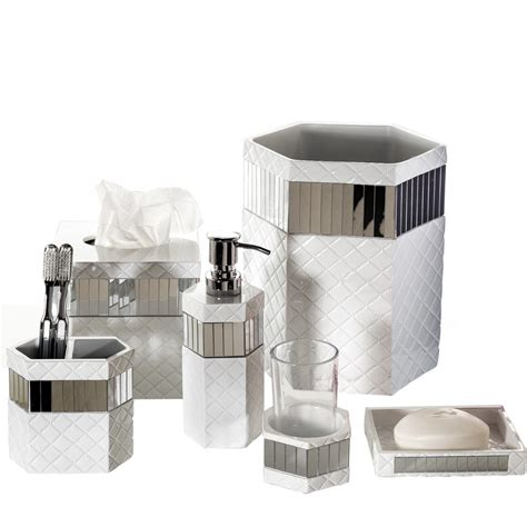 Creative Scents Quilted Mirror 6 Piece Bathroom Accessory Mirrored Bathroom Accessories Sets