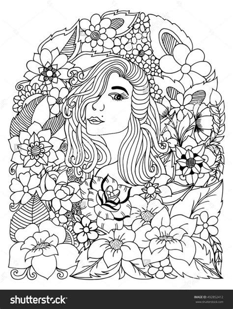anti stress coloring book zentangle portrait of a among the flowers coloring