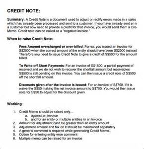 Credit Note Format In Pdf Sle Credit Note 5 Documents In Pdf Psd Word