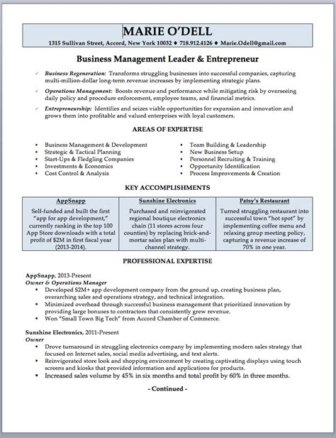 Business Owner Resume by Business Owner Resume Sle Writing Guide Rwd